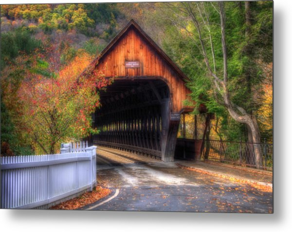 Covered Bridge In Autumn - Woodstock Vermont Metal Print