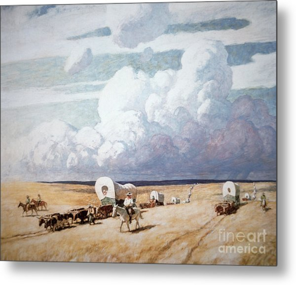 Covered Wagons Heading West Metal Print