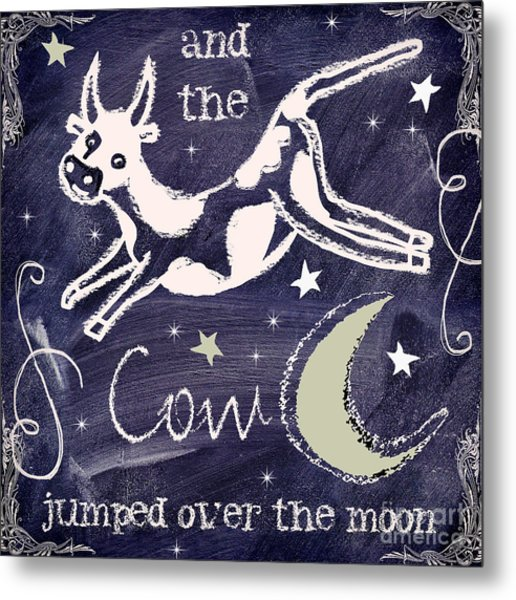 Cow Jumped Over The Moon Chalkboard Art Metal Print