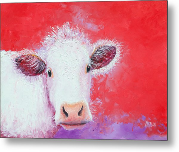 Cow Painting - Charolais Metal Print