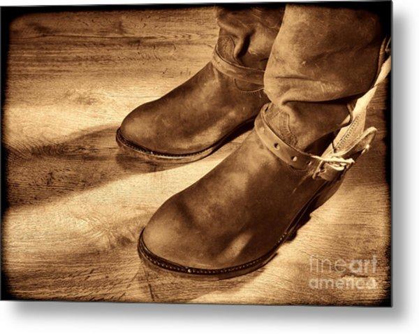 Cowboy Boots On Saloon Floor Metal Print