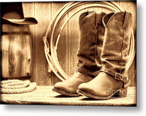 Cowboy Boots On The Deck Metal Print