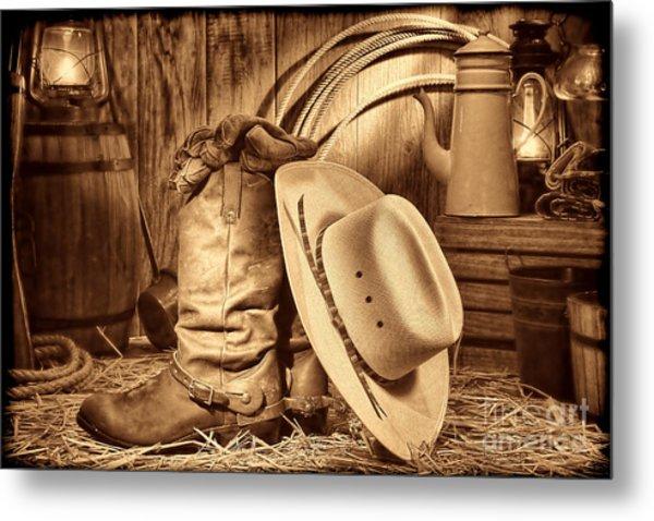 Cowboy Gear In Barn Metal Print