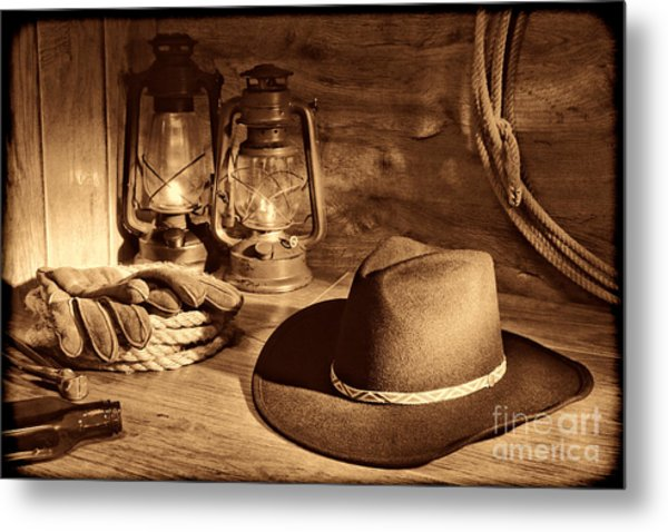 Cowboy Hat And Kerosene Lanterns Metal Print