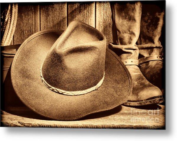 Cowboy Hat On Floor Metal Print
