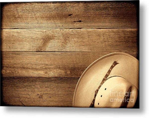 Cowboy Hat On Wood Table Metal Print