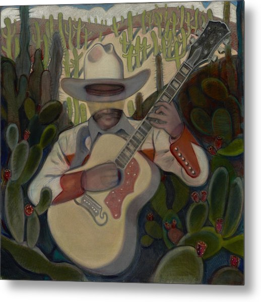 Cowboy In The Cactus Metal Print