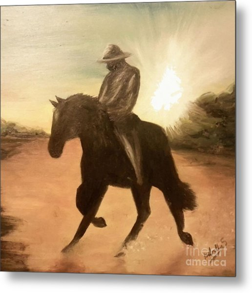 Cowboy On The Range Metal Print