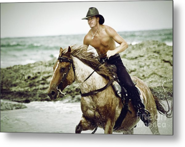 Cowboy Riding Horse On The Beach Metal Print