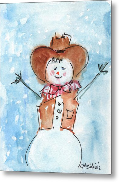 Cowboy Snowman Watercolor Painting By Kmcelwaine Metal Print