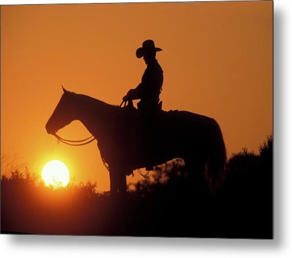 Cowboy Sunset Silhouette Metal Print