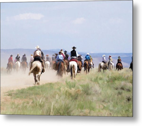 Metal Print featuring the digital art Cowboys And Cowgirls Riding Horses At The Sombrero Horse Drive by Nadja Rider