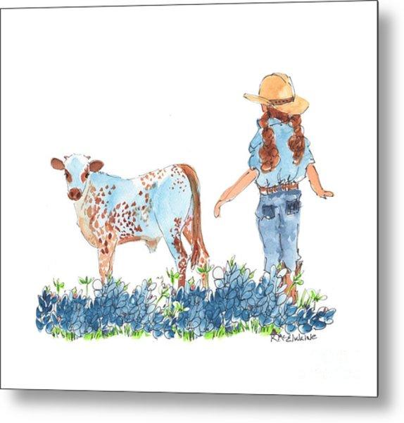 Cowgirl Calf In The Bluebonnets Pe005 Metal Print