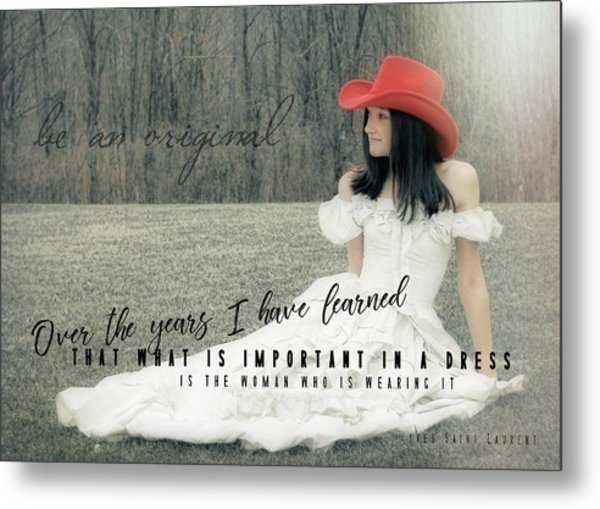 Cowgirl Red Quote Metal Print by JAMART Photography
