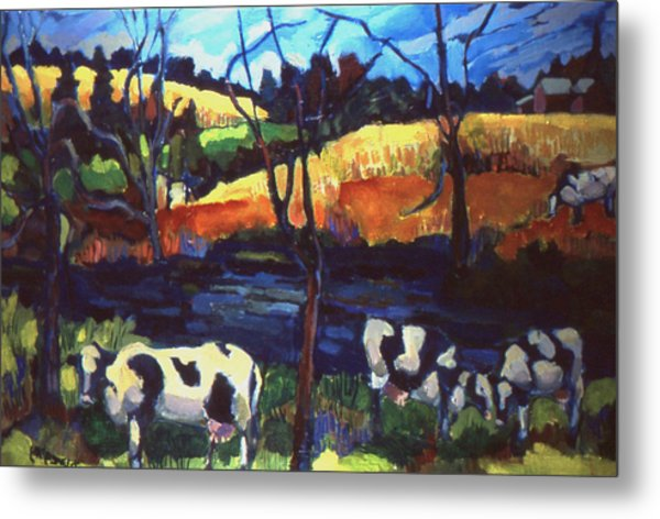 Cows In Landscape Metal Print