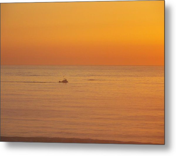 Crab Boat At Sunset Metal Print