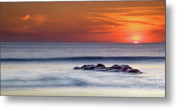 Crackington Haven Sunset, Cornwall, Uk Metal Print