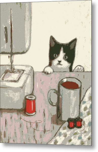 Crafty Cat #2 Metal Print