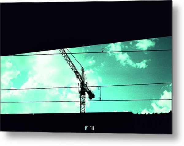 Crane And Shadows Metal Print