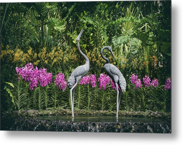 Cranes Sculpture At Singapore Botanical Gardens Metal Print