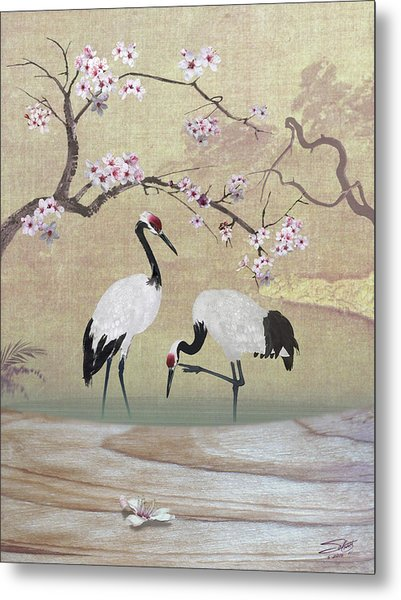 Cranes Under Cherry Tree Metal Print