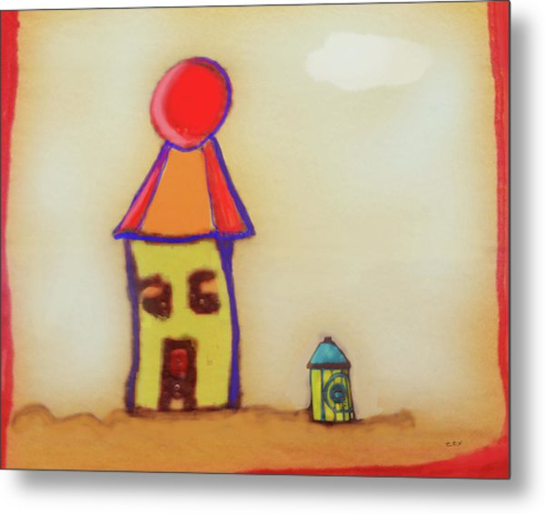 Cranky Clown Cabana And Fire Hydrant Metal Print