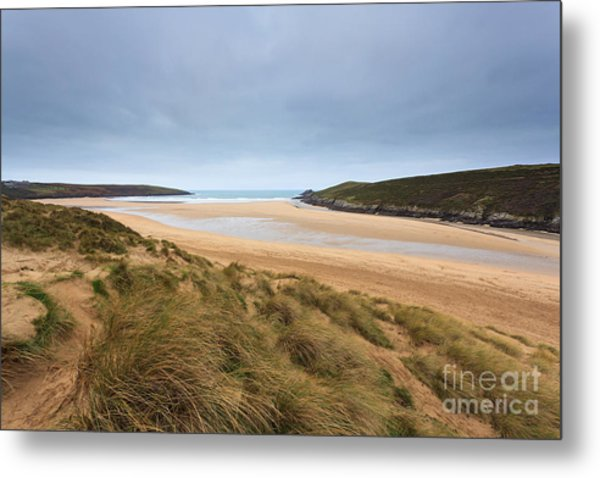 Crantock Beach In Cornwall England Metal Print by Richard Thomas