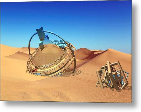 Crash Space Craft In The Desert Metal Print