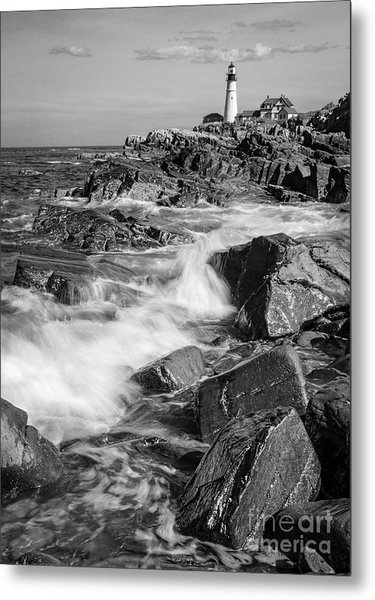 Crashing Waves, Portland Head Light, Cape Elizabeth, Maine  -5605 Metal Print
