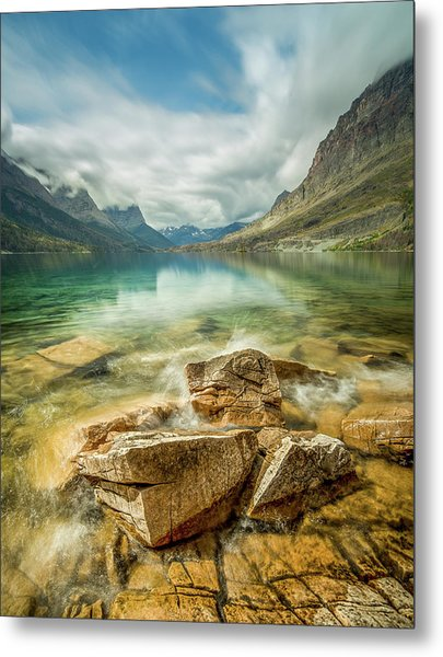 Crashing Waves // Saint Mary Lake, Glacier National Park  Metal Print