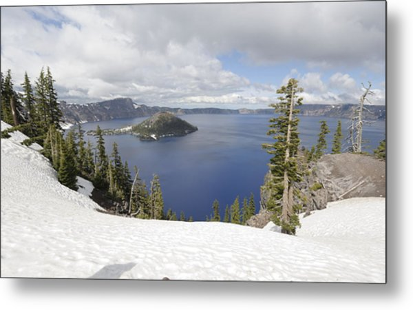 Crater Lake Cloud And Shadow Metal Print