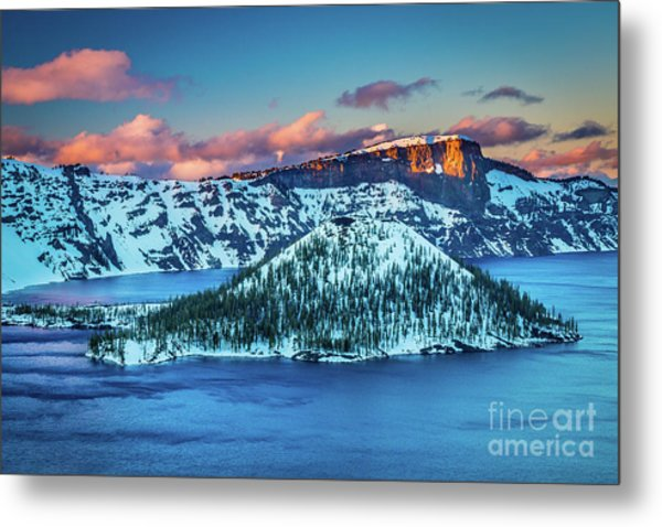 Crater Lake Dusk Metal Print