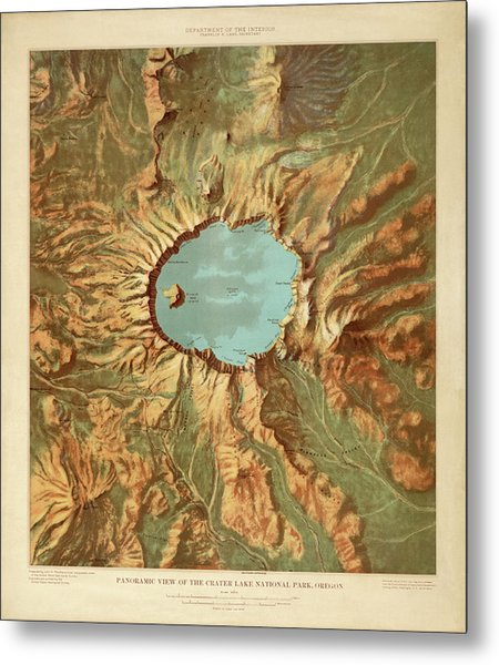 Crater Lake National Park Map By The Us Geological Survey - 1915 Metal Print