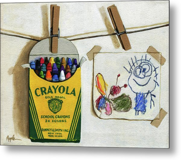 Box Of Crayons And Child's Drawing Realistic Still Life Painting Metal Print