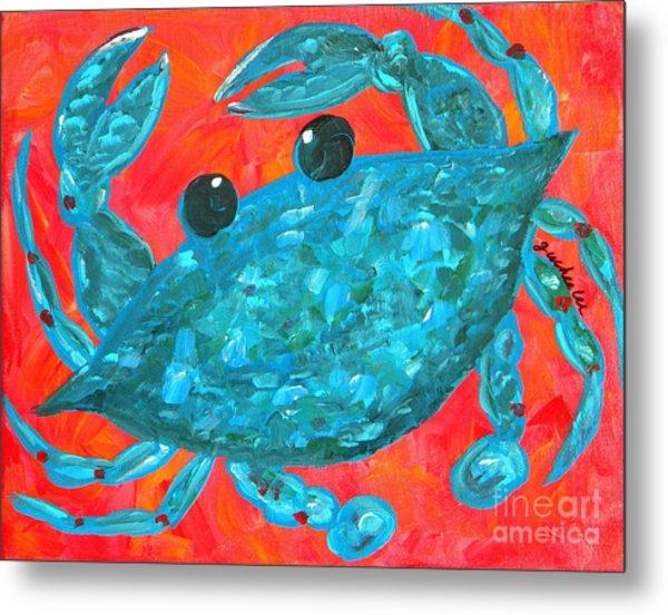 Crazy Blue Crab Metal Print