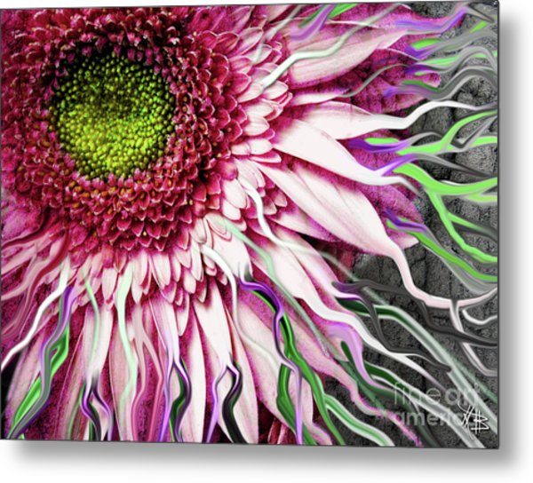 Metal Print featuring the mixed media Crazy Daisy by Christopher Beikmann