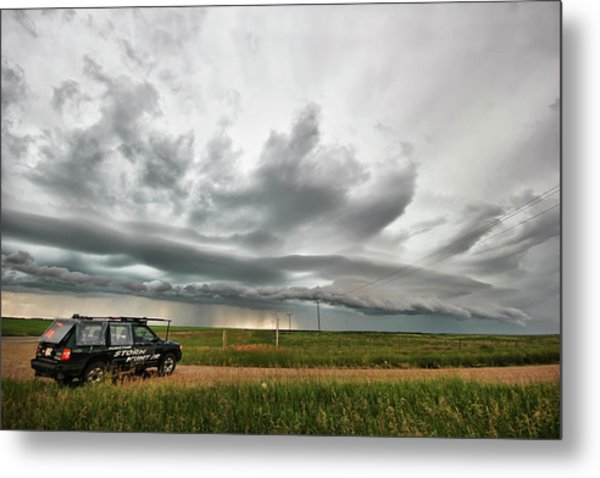 Crazy Shelf Cloud Near Ponteix Sk. Metal Print