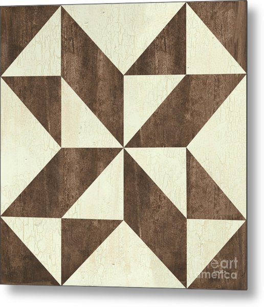 Cream And Brown Quilt Metal Print