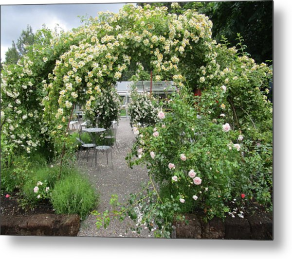 Cream-colored Roses With Your Coffee Metal Print