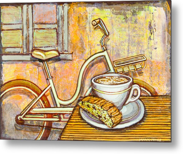 Cream Electra Town Bicycle With Cappuccino And Biscotti Metal Print