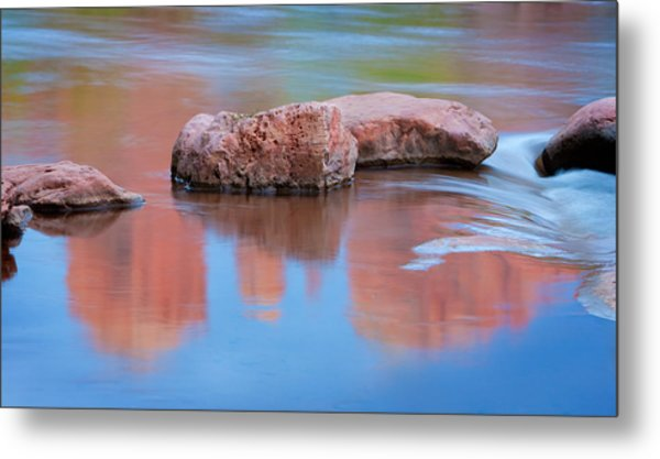 Creek Rocks With Cathedral Rock Reflection Metal Print