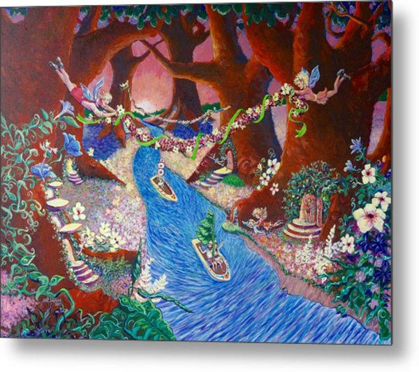 Metal Print featuring the painting Creekside Fairy Celebration by Jeanette Jarmon