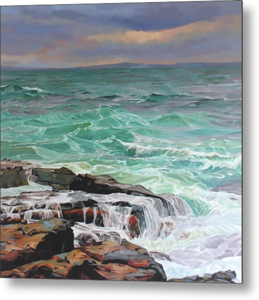 Creevy Storm 3, Waves Spill Over The Rocks Metal Print by Kevin Lowery