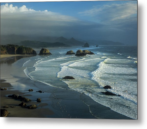 Crescent Beach And Surf Metal Print