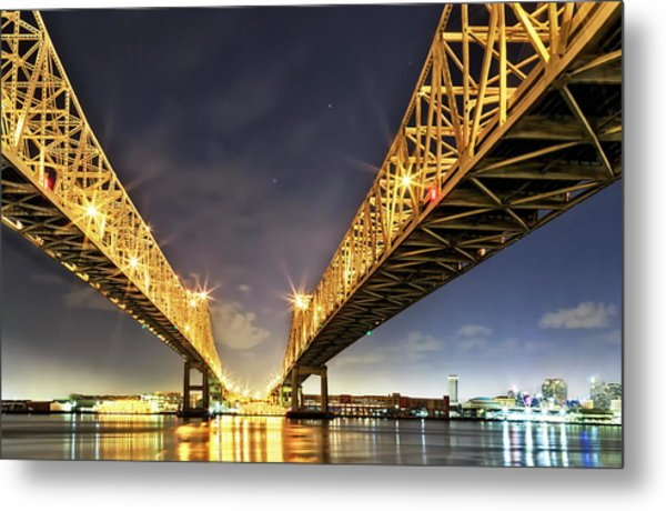 Crescent City Bridge In New Orleans Metal Print