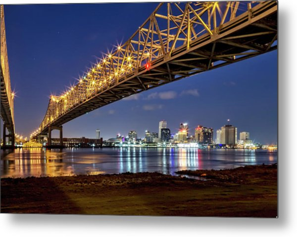 Crescent City Bridge, New Orleans Metal Print