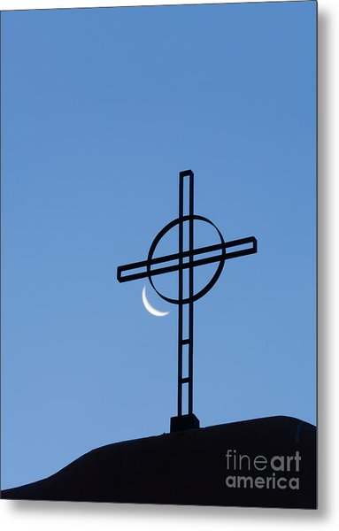 Crescent Moon And Cross Metal Print