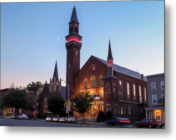 Crescent Moon Old Town Hall Metal Print