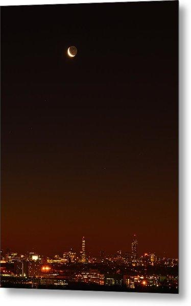 Crescent Moon Over Boston Metal Print