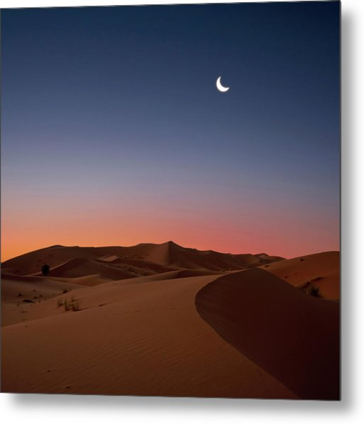 Crescent Moon Over Dunes Metal Print by Photo by John Quintero